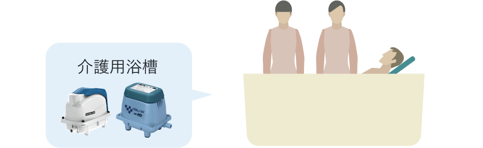 介護浴槽に搭載されているエアーポンプ