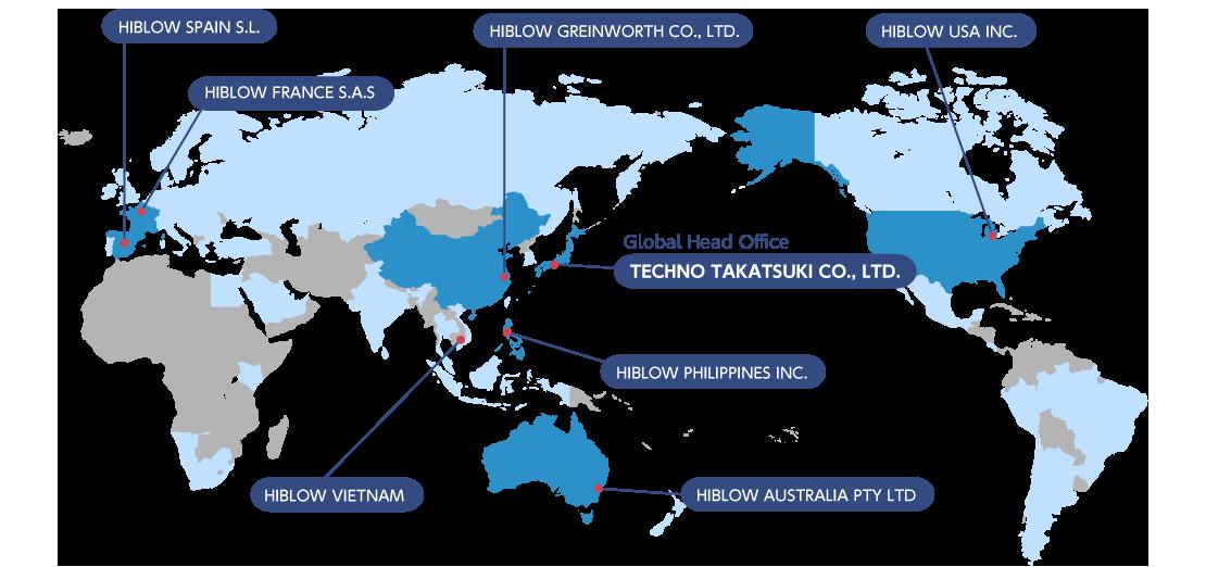 テクノ高槻の海外拠点マップ