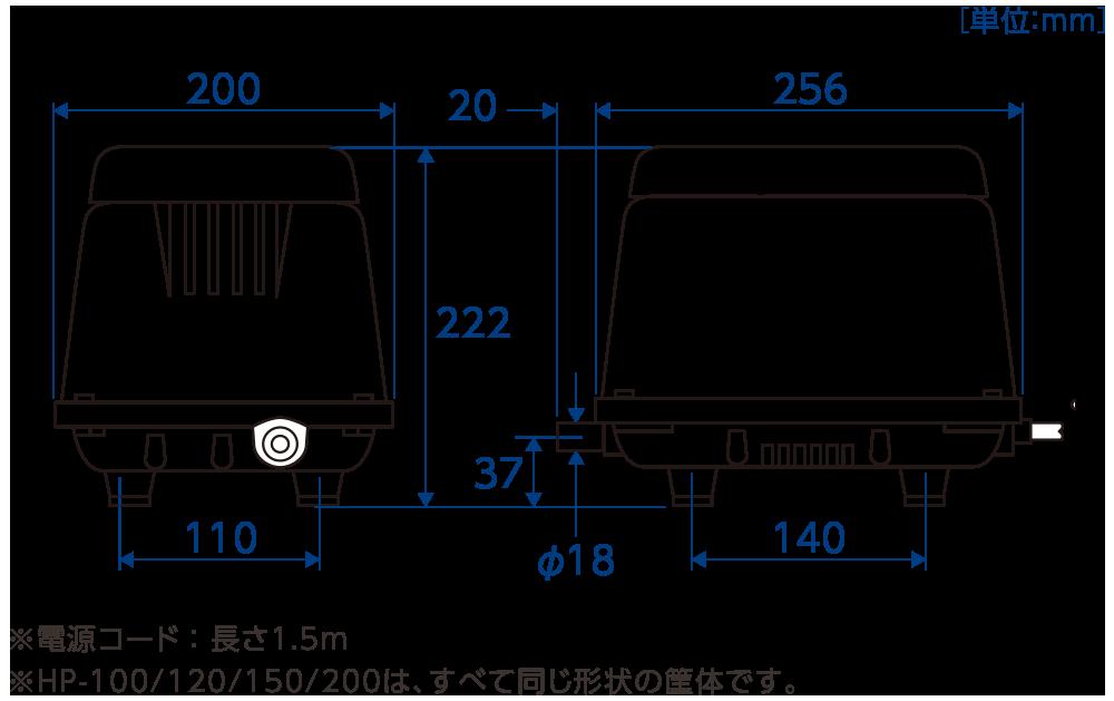 テクノ高槻 ブロワ HP 外形図 寸法図