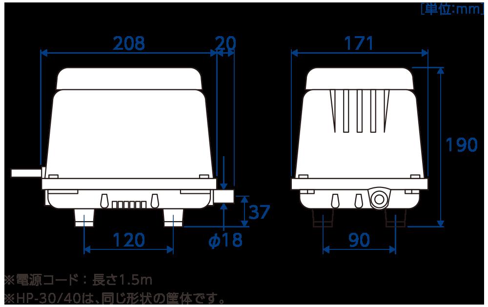 テクノ高槻 ブロワ HP30/40外形図 寸法図比較