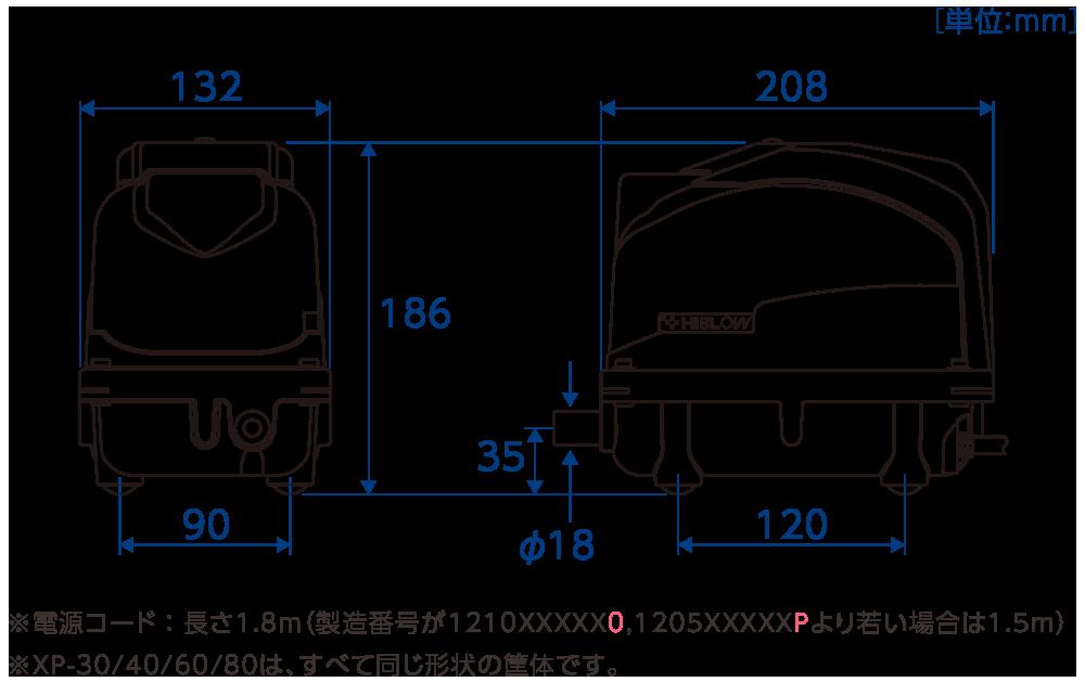テクノ高槻 ブロワ XP 外形図 寸法図